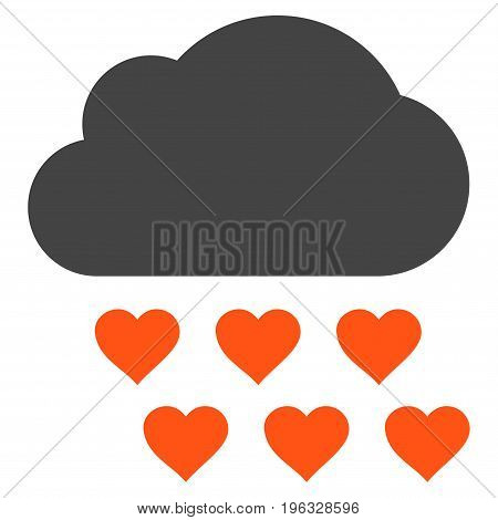 Love Rain Cloud flat icon. Vector bicolor orange and gray symbol. Pictograph is isolated on a white background. Trendy flat style illustration for web site design, logo, ads, apps, user interface.