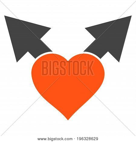 Love Variant Arrows flat icon. Vector bicolor orange and gray symbol. Pictograph is isolated on a white background. Trendy flat style illustration for web site design, logo, ads, apps, user interface.