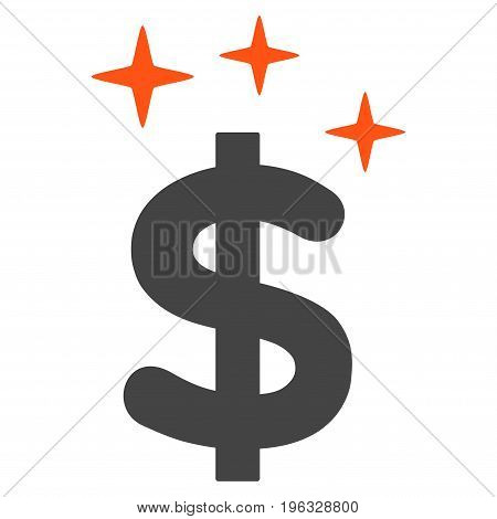 Sparkle Dollar Symbol flat icon. Vector bicolor orange and gray symbol. Pictogram is isolated on a white background. Trendy flat style illustration for web site design, logo, ads, apps,