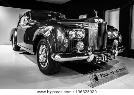 BERLIN - MARCH 08 2015: Showroom. Rolls-Royce Silver Cloud III. Black and white. Rolls-Royce Motor Cars Limited global manufacturer of luxury cars.