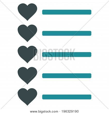 Favourites List flat icon. Vector bicolor soft blue symbol. Pictograph is isolated on a white background. Trendy flat style illustration for web site design, logo, ads, apps, user interface.