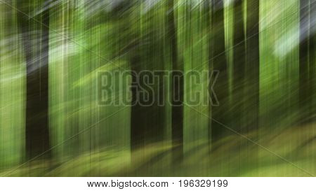 Abstract Motion Blur, Trees Trunk & Leaves, Yellow Green Background