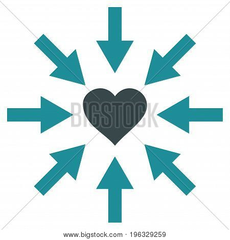 Impact Love Heart flat icon. Vector bicolor soft blue symbol. Pictogram is isolated on a white background. Trendy flat style illustration for web site design, logo, ads, apps, user interface.
