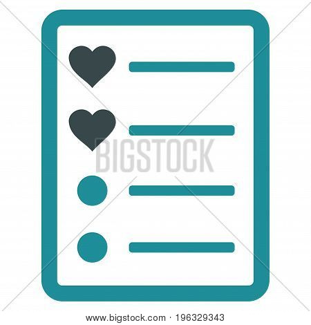 Love List Page flat icon. Vector bicolor soft blue symbol. Pictogram is isolated on a white background. Trendy flat style illustration for web site design, logo, ads, apps, user interface.