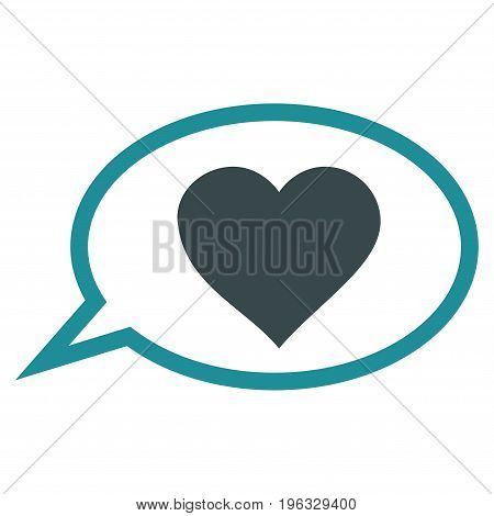 Love Message Balloon flat icon. Vector bicolor soft blue symbol. Pictogram is isolated on a white background. Trendy flat style illustration for web site design, logo, ads, apps, user interface.
