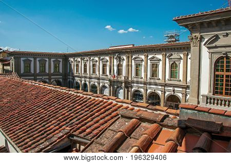 Rooftop view in building with sunny blue sky in the city of Florence, the famous and amazing capital of the Italian Renaissance. Located in the Tuscany region