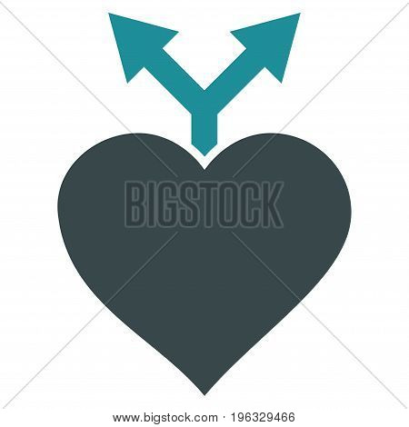 Love Variants flat icon. Vector bicolor soft blue symbol. Pictograph is isolated on a white background. Trendy flat style illustration for web site design, logo, ads, apps, user interface.