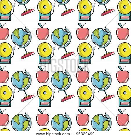 school tools with apple fruit background design vector illustration