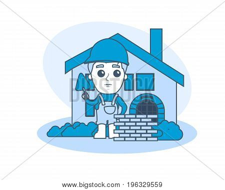 Builder worker clerk in funny style. Builder built wall near finished object of house. Architect. Engineer designer. Working. Illustration thin line design of vector doodles infographics elements.