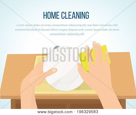 Concept illustration - house cleaning. Washing dishes. Interior of the room. Observance of cleanliness. Housework and clean dishes. Daily cleaning. Vector illustration isolated.