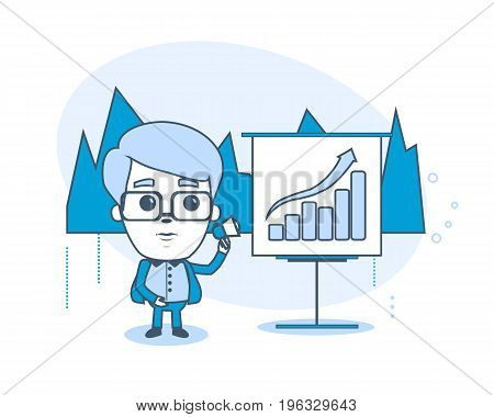 Businessman in office room. Office employee is holding a conference for the audience showing presentation materials. Illustration thin line design of vector doodles infographics elements.