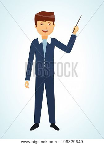 Businessman in office work situations concept. Office employee is holding a conference for the audience showing presentation materials. Vector illustration isolated in cartoon style.