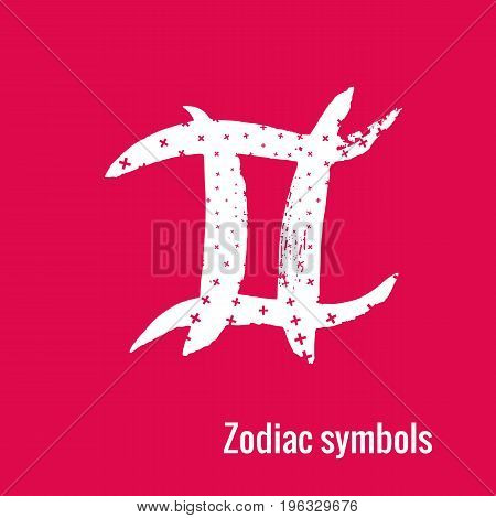 Signs of the zodiac. Pisces symbol calligraphy. Fashion illustration style. Vector illustration white isolated on a pink background. Concept for women's T-shirts, fashion magazines and blogs.