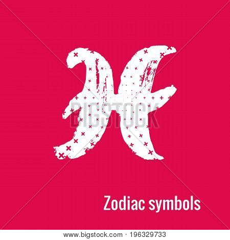Signs of the zodiac. Gemini symbol calligraphy. Fashion illustration style. Vector illustration white isolated on a pink background. Concept for women's T-shirts, fashion magazines and blogs.