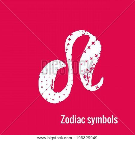 Signs of the zodiac. Leo symbol calligraphy. Fashion illustration style. Vector illustration white isolated on a pink background. Concept for women's T-shirts, fashion magazines and blogs.
