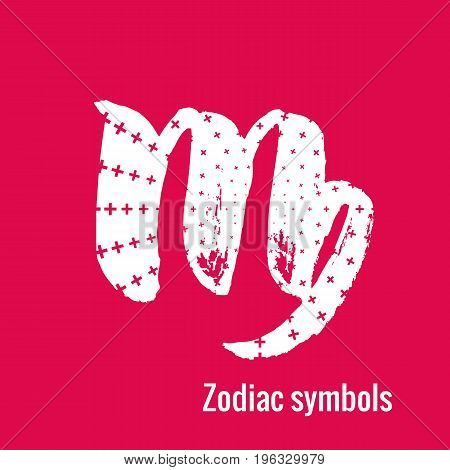 Signs of the zodiac. Virgo symbol calligraphy. Fashion illustration style. Vector illustration white isolated on a pink background. Concept for women's T-shirts, fashion magazines and blogs.
