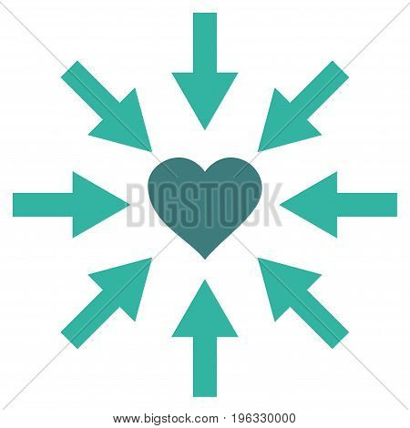 Impact Love Heart flat icon. Vector bicolor cobalt and cyan symbol. Pictograph is isolated on a white background. Trendy flat style illustration for web site design, logo, ads, apps, user interface.