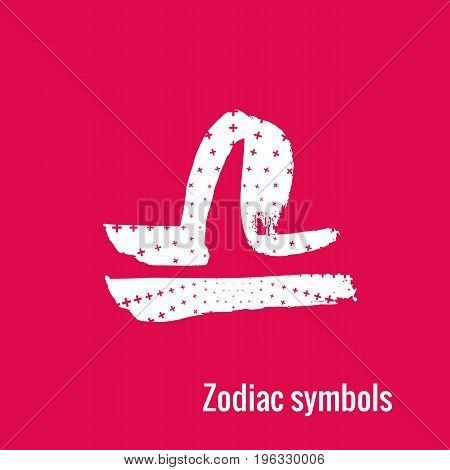 Signs of the zodiac. Libra symbol calligraphy. Fashion illustration style. Vector illustration white isolated on a pink background. Concept for women's T-shirts, fashion magazines and blogs.