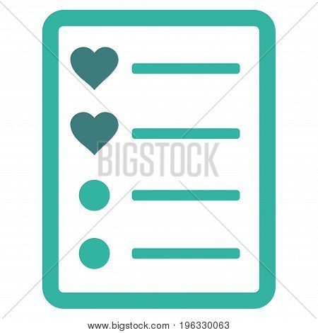 Love List Page flat icon. Vector bicolor cobalt and cyan symbol. Pictogram is isolated on a white background. Trendy flat style illustration for web site design, logo, ads, apps, user interface.