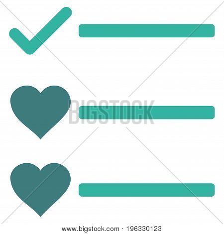 Love List flat icon. Vector bicolor cobalt and cyan symbol. Pictogram is isolated on a white background. Trendy flat style illustration for web site design, logo, ads, apps, user interface.