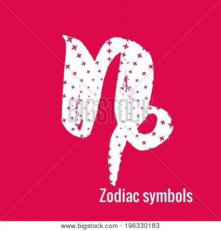 Signs of the zodiac. Capricorn symbol calligraphy. Fashion illustration style. Vector illustration white isolated on a pink background. Concept for women's T-shirts, fashion magazines and blogs.