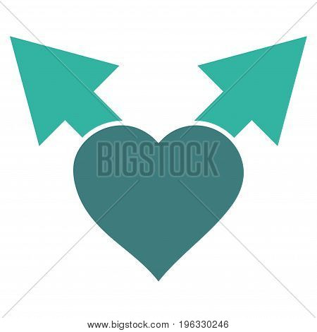 Love Variant Arrows flat icon. Vector bicolor cobalt and cyan symbol. Pictograph is isolated on a white background. Trendy flat style illustration for web site design, logo, ads, apps, user interface.