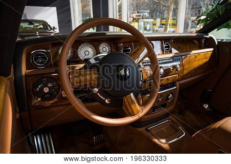 BERLIN - MARCH 08 2015: Showroom. Cabin of a luxury car Rolls-Royce Phantom Drophead Coupe. Rolls-Royce Motor Cars Limited global manufacturer of luxury cars.