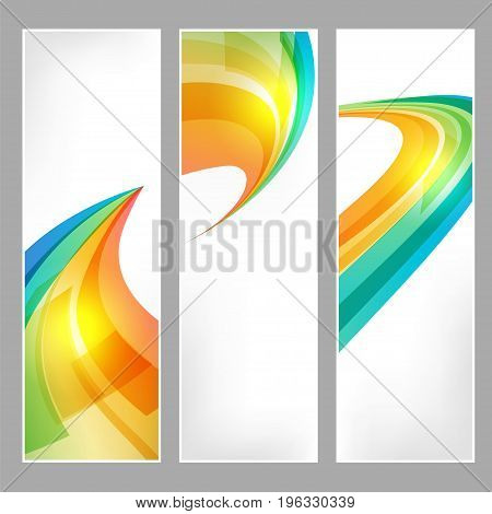 Tech banners set with business symbol on white background