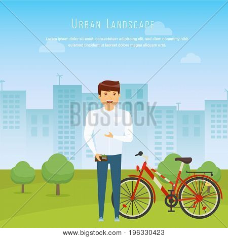 Modern cityscape and city life streets and the exterior of the facade. Urban landscape. Walk arround city. Cycling active lifestyle. Vector illustration isolated in cartoon style.