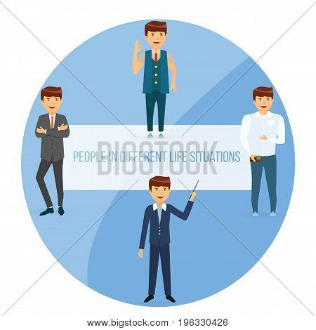 Set of people in different life situations and poses. Successful businessman manager modern young man shopping guy hipster. Vector illustration isolated in cartoon style.
