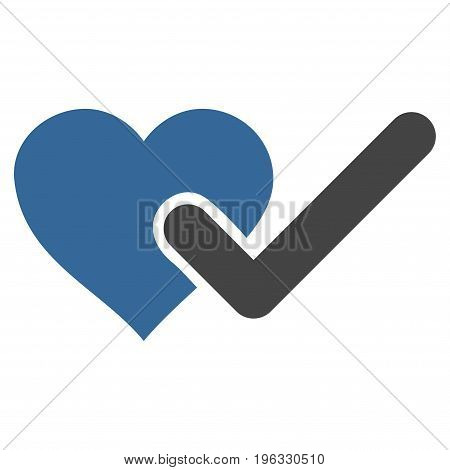 Checked Love Heart flat icon. Vector bicolor cobalt and gray symbol. Pictogram is isolated on a white background. Trendy flat style illustration for web site design, logo, ads, apps, user interface.