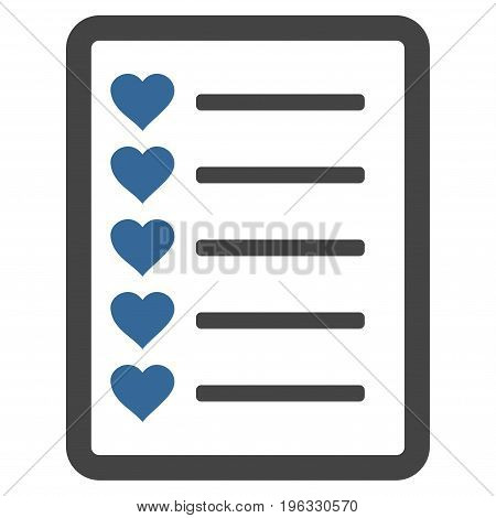 Favourites List Page flat icon. Vector bicolor cobalt and gray symbol. Pictograph is isolated on a white background. Trendy flat style illustration for web site design, logo, ads, apps,
