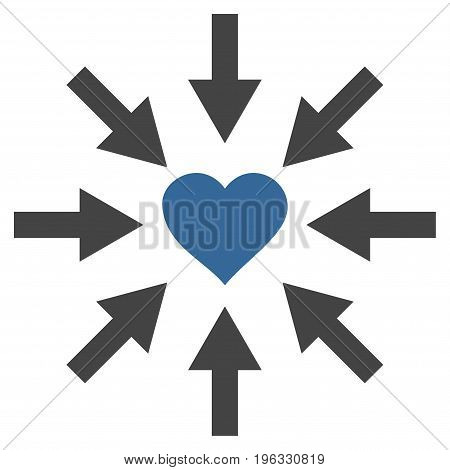 Impact Love Heart flat icon. Vector bicolor cobalt and gray symbol. Pictograph is isolated on a white background. Trendy flat style illustration for web site design, logo, ads, apps, user interface.