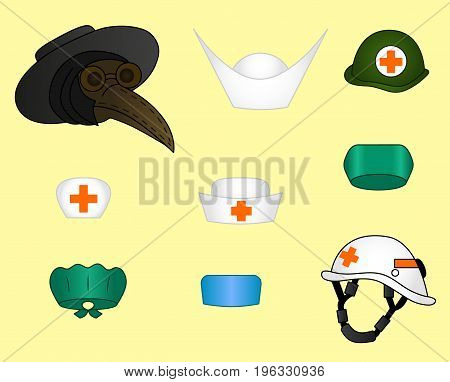 Doctor's hats vector set of different old modern caps plague colored illustration sketch