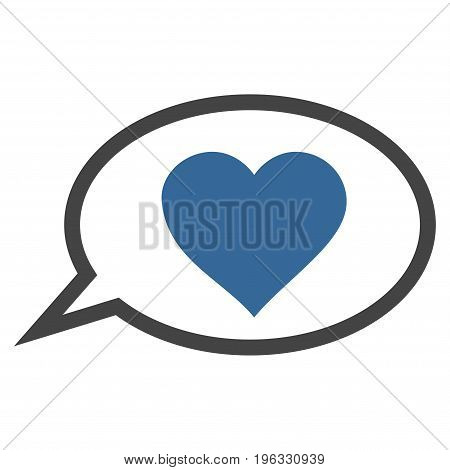 Love Message Balloon flat icon. Vector bicolor cobalt and gray symbol. Pictograph is isolated on a white background. Trendy flat style illustration for web site design, logo, ads, apps,