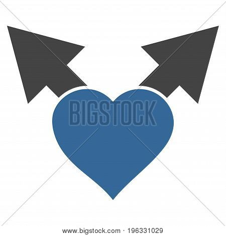 Love Variant Arrows flat icon. Vector bicolor cobalt and gray symbol. Pictogram is isolated on a white background. Trendy flat style illustration for web site design, logo, ads, apps, user interface.