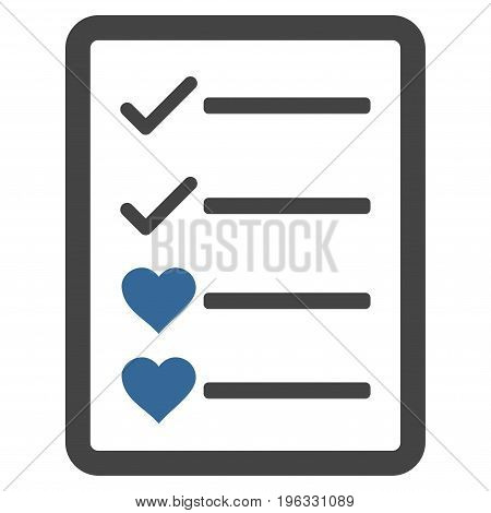 Lovely List Page flat icon. Vector bicolor cobalt and gray symbol. Pictograph is isolated on a white background. Trendy flat style illustration for web site design, logo, ads, apps, user interface.