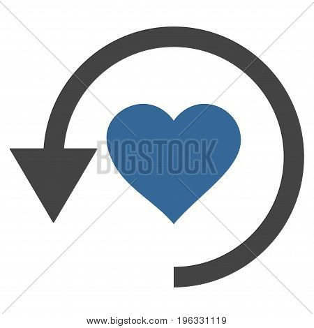 Refresh Love flat icon. Vector bicolor cobalt and gray symbol. Pictograph is isolated on a white background. Trendy flat style illustration for web site design, logo, ads, apps, user interface.