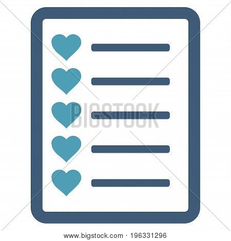 Favourites List Page flat icon. Vector bicolor cyan and blue symbol. Pictogram is isolated on a white background. Trendy flat style illustration for web site design, logo, ads, apps, user interface.