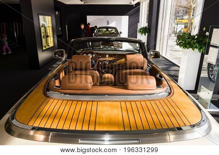 BERLIN - MARCH 08 2015: Showroom. Interior of a luxury car Rolls-Royce Phantom Drophead Coupe. Rolls-Royce Motor Cars Limited global manufacturer of luxury cars.