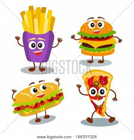 Funny, Cute Fast Food Hamburger, Sandwich, Pizza, French Fries With Smiling Human Face Isolated On W