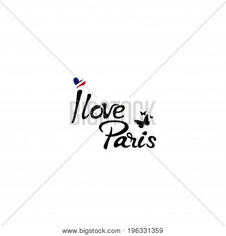 Hand drawn phrase I love Paris. Isolated on white background.
