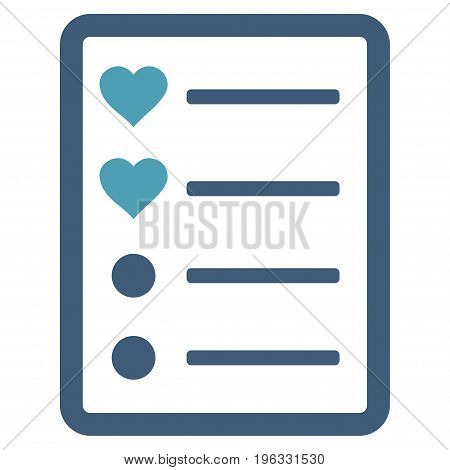 Love List Page flat icon. Vector bicolor cyan and blue symbol. Pictogram is isolated on a white background. Trendy flat style illustration for web site design, logo, ads, apps, user interface.