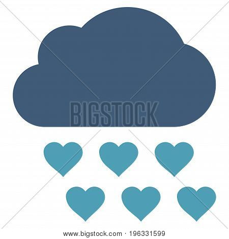 Love Rain Cloud flat icon. Vector bicolor cyan and blue symbol. Pictograph is isolated on a white background. Trendy flat style illustration for web site design, logo, ads, apps, user interface.