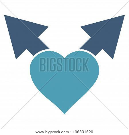 Love Variant Arrows flat icon. Vector bicolor cyan and blue symbol. Pictogram is isolated on a white background. Trendy flat style illustration for web site design, logo, ads, apps, user interface.