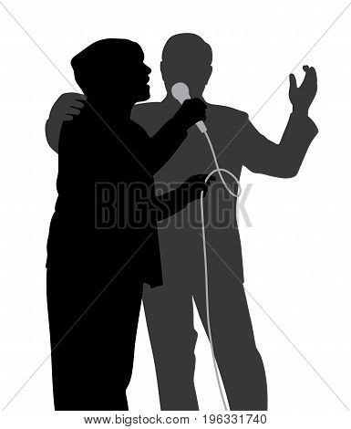 Senior singing duet. Isolated white background. EPS file available.