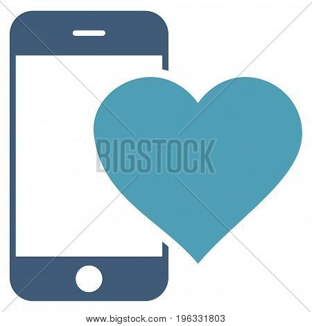 Lovely Smartphone flat icon. Vector bicolor cyan and blue symbol. Pictogram is isolated on a white background. Trendy flat style illustration for web site design, logo, ads, apps, user interface.