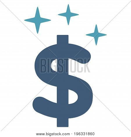 Sparkle Dollar Symbol flat icon. Vector bicolor cyan and blue symbol. Pictograph is isolated on a white background. Trendy flat style illustration for web site design, logo, ads, apps, user interface.