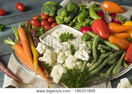 Raw Refreshing Vegetable Crudites Plate