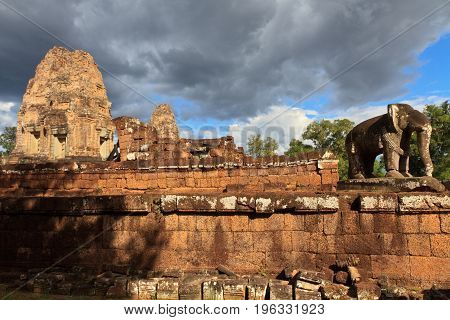Elephant statue at the East Mebon temple in Angkor Wat, Cambodia